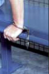handcuff rail for bench seating